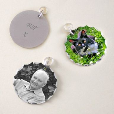 Photo Charm with Engraving - Round | Someone Remembered